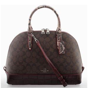Coach Signature brown Mix Sierra Satchel Purse Bag